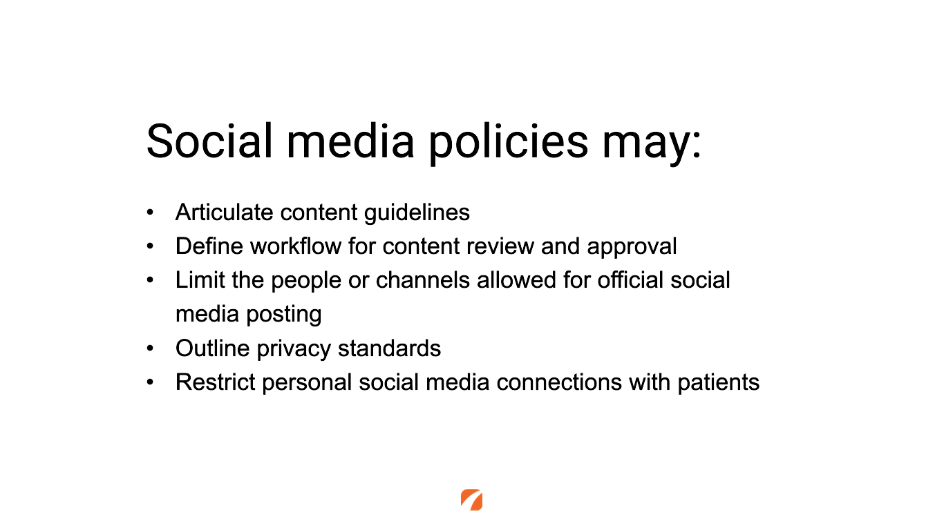 Examples of social media policies within a medical practice.