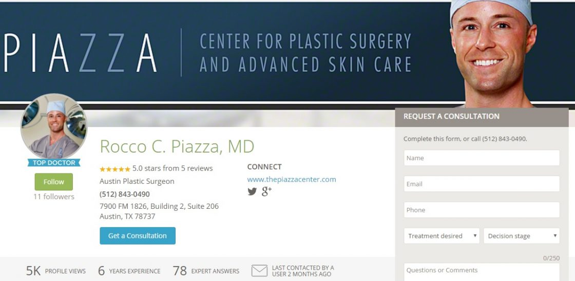 Doctor profile on RealSelf.com for Dr. Piazza, Austin Plastic Surgeon